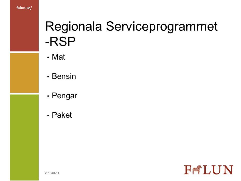 2015-04-14 Regionala Serviceprogrammet -RSP Mat Bensin Pengar Paket