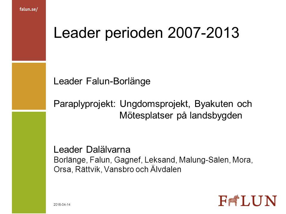 2015-04-14 Leader perioden 2007-2013 Leader Falun-Borlänge Paraplyprojekt: Ungdomsprojekt, Byakuten och Mötesplatser på landsbygden Leader Dalälvarna
