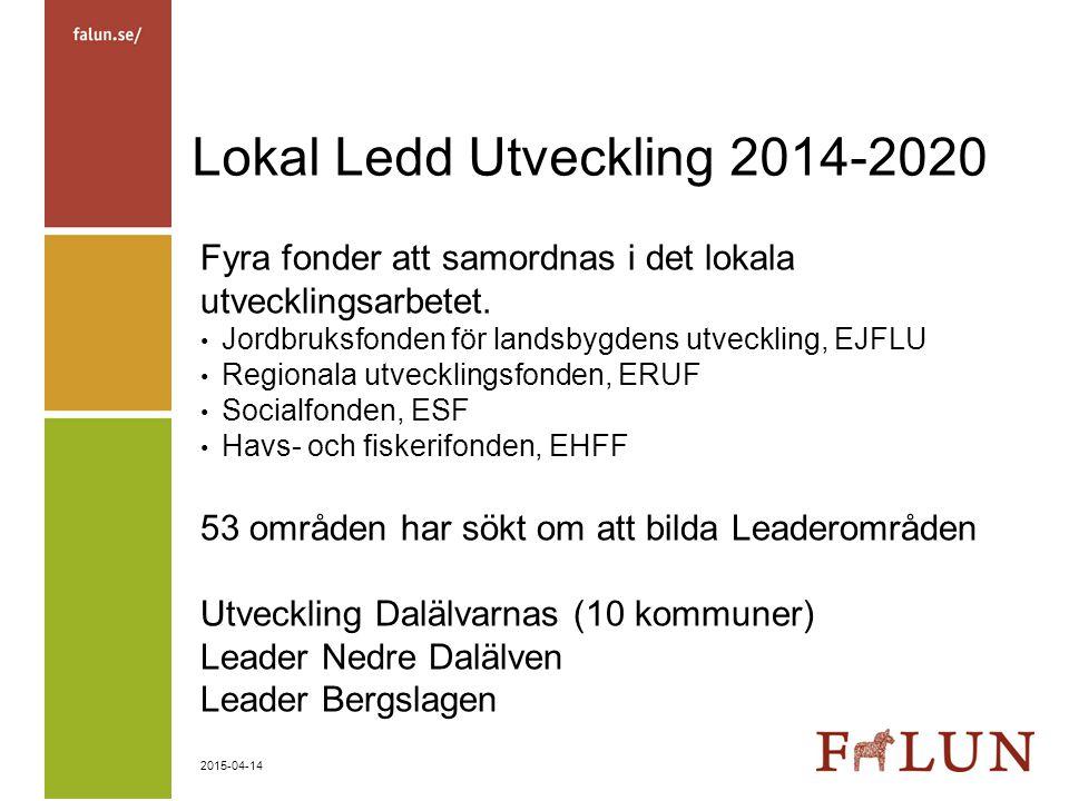 2015-04-14 Lokal Ledd Utveckling 2014-2020 Fyra fonder att samordnas i det lokala utvecklingsarbetet. Jordbruksfonden för landsbygdens utveckling, EJF