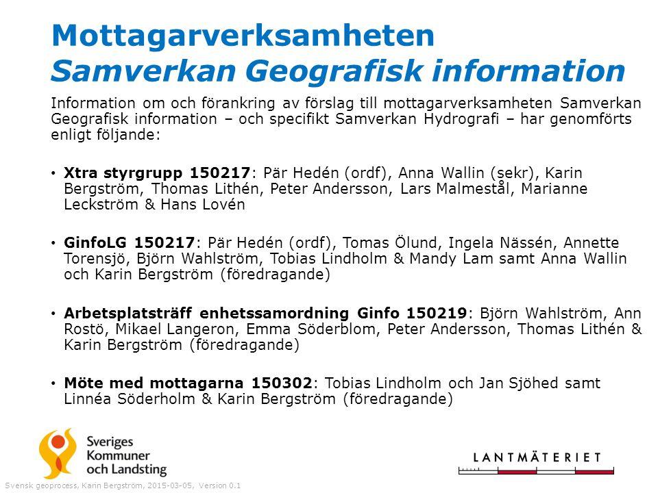 Mottagarverksamheten Samverkan Geografisk information Information om och förankring av förslag till mottagarverksamheten Samverkan Geografisk informat