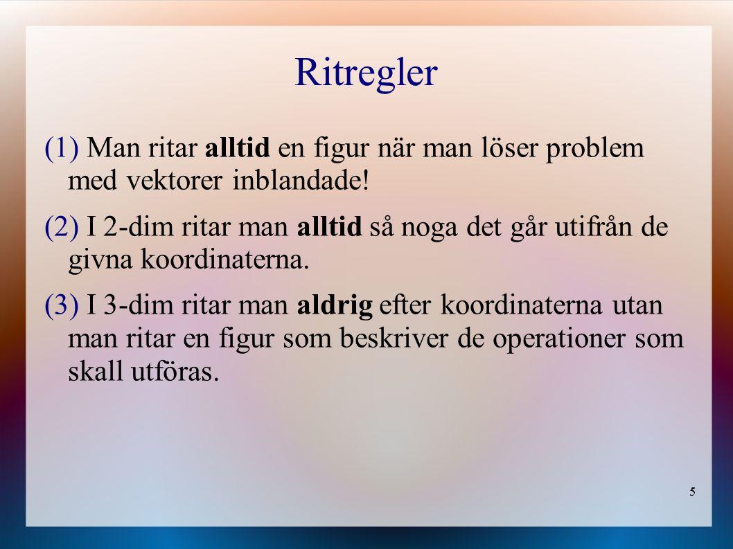 5 Ritregler (1) Man ritar alltid en figur när man löser problem med vektorer inblandade.