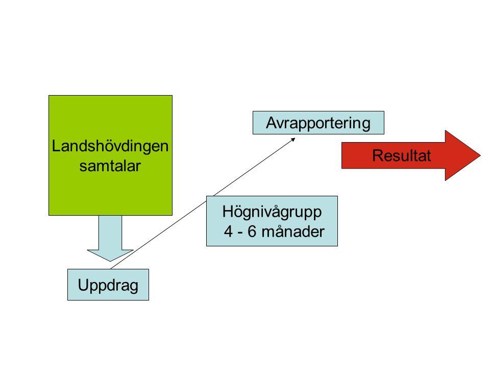 Landshövdingen samtalar Uppdrag Högnivågrupp 4 - 6 månader Avrapportering Resultat