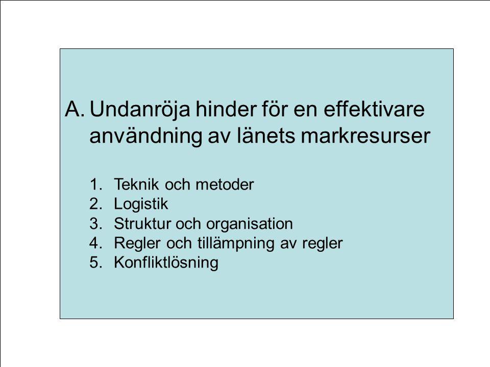 A.Undanröja hinder för en effektivare användning av länets markresurser 1.Teknik och metoder 2.Logistik 3.Struktur och organisation 4.Regler och tillämpning av regler 5.Konfliktlösning