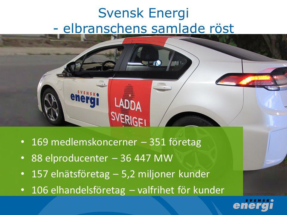 Svensk Energi - elbranschens samlade röst 169 medlemskoncerner – 351 företag 88 elproducenter – 36 447 MW 157 elnätsföretag – 5,2 miljoner kunder 106