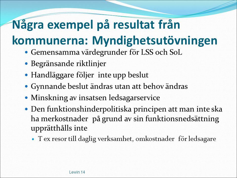 Några exempel på resultat från kommunerna: Myndighetsutövningen Gemensamma värdegrunder för LSS och SoL Begränsande riktlinjer Handläggare följer inte
