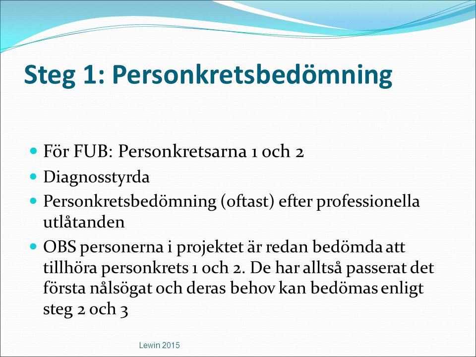 Steg 1: Personkretsbedömning För FUB: Personkretsarna 1 och 2 Diagnosstyrda Personkretsbedömning (oftast) efter professionella utlåtanden OBS personer