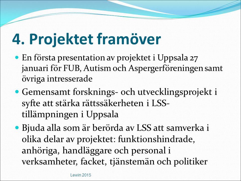 4. Projektet framöver En första presentation av projektet i Uppsala 27 januari för FUB, Autism och Aspergerföreningen samt övriga intresserade Gemensa