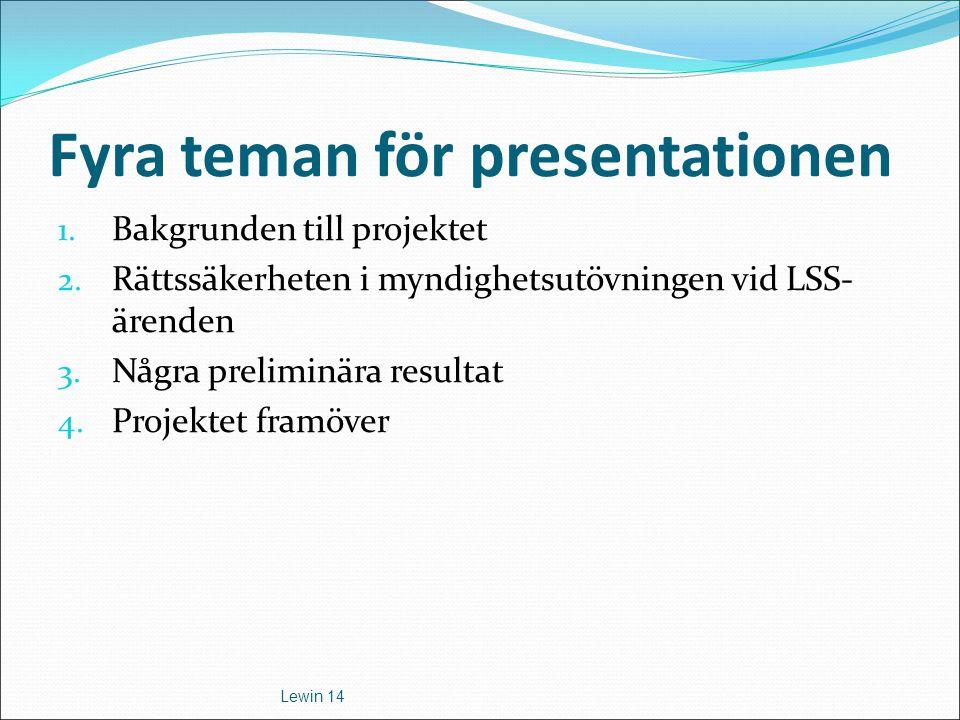Fyra teman för presentationen 1. Bakgrunden till projektet 2. Rättssäkerheten i myndighetsutövningen vid LSS- ärenden 3. Några preliminära resultat 4.