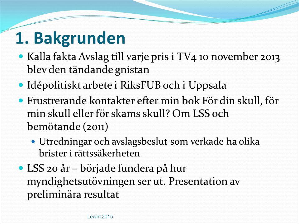 1. Bakgrunden Kalla fakta Avslag till varje pris i TV4 10 november 2013 blev den tändande gnistan Idépolitiskt arbete i RiksFUB och i Uppsala Frustrer