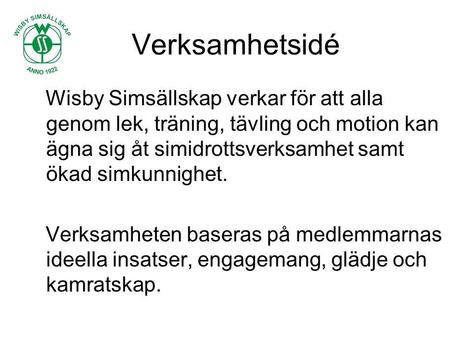 Verksamhetsidé Wisby Simsällskap verkar för att alla genom lek, träning, tävling och motion kan ägna sig åt simidrottsverksamhet samt ökad simkunnighet.
