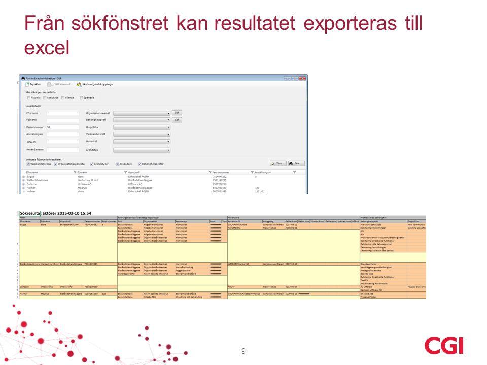 Från sökfönstret kan resultatet exporteras till excel 9