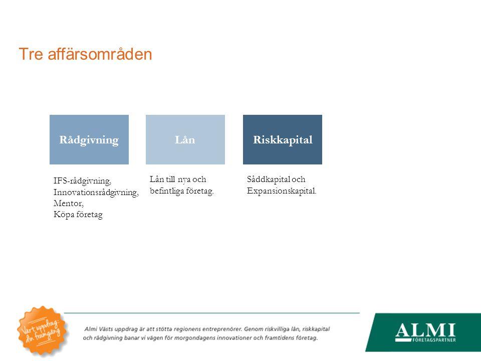 Tre affärsområden RiskkapitalRådgivningLån Såddkapital och Expansionskapital. IFS-rådgivning, Innovationsrådgivning, Mentor, Köpa företag Lån till nya