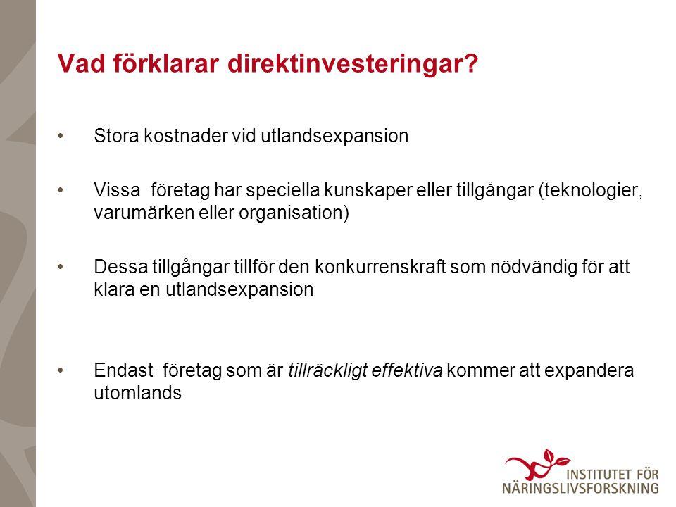 Vad förklarar direktinvesteringar.