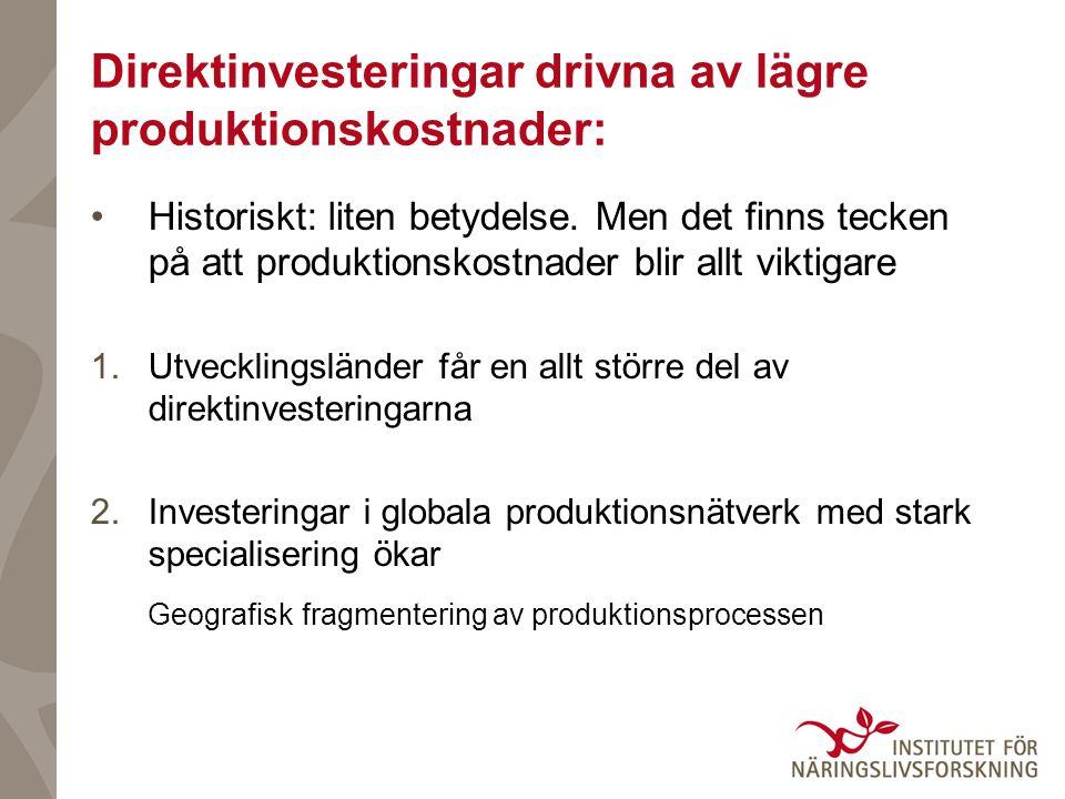 Direktinvesteringar drivna av lägre produktionskostnader: Historiskt: liten betydelse.