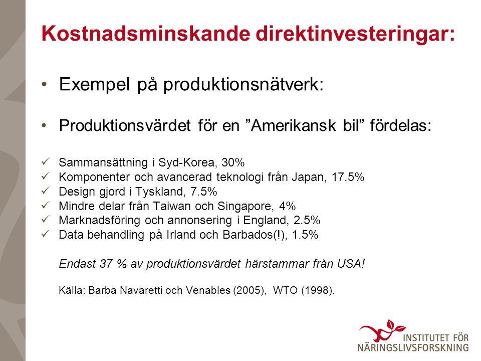 Exempel på produktionsnätverk: Produktionsvärdet för en Amerikansk bil fördelas: Sammansättning i Syd-Korea, 30% Komponenter och avancerad teknologi från Japan, 17.5% Design gjord i Tyskland, 7.5% Mindre delar från Taiwan och Singapore, 4% Marknadsföring och annonsering i England, 2.5% Data behandling på Irland och Barbados(!), 1.5% Endast 37 % av produktionsvärdet härstammar från USA.