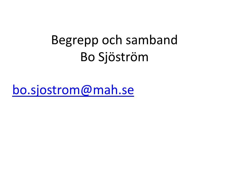 Begrepp och samband Bo Sjöström bo.sjostrom@mah.se