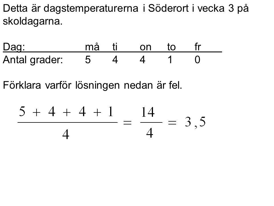 Detta är dagstemperaturerna i Söderort i vecka 3 på skoldagarna. Dag:måtiontofr Antal grader:54410 Förklara varför lösningen nedan är fel.