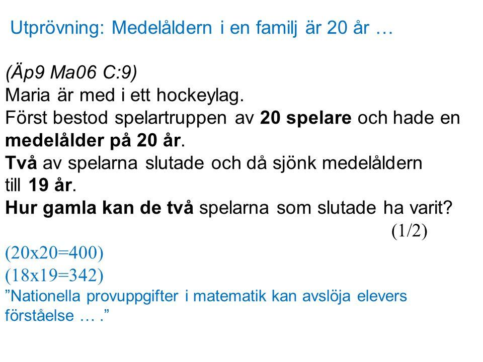 Utprövning: Medelåldern i en familj är 20 år … (Äp9 Ma06 C:9) Maria är med i ett hockeylag. Först bestod spelartruppen av 20 spelare och hade en medel