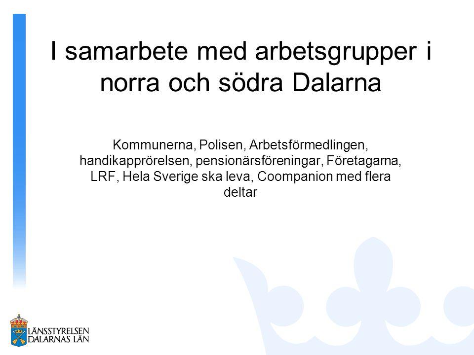 I samarbete med arbetsgrupper i norra och södra Dalarna Kommunerna, Polisen, Arbetsförmedlingen, handikapprörelsen, pensionärsföreningar, Företagarna,