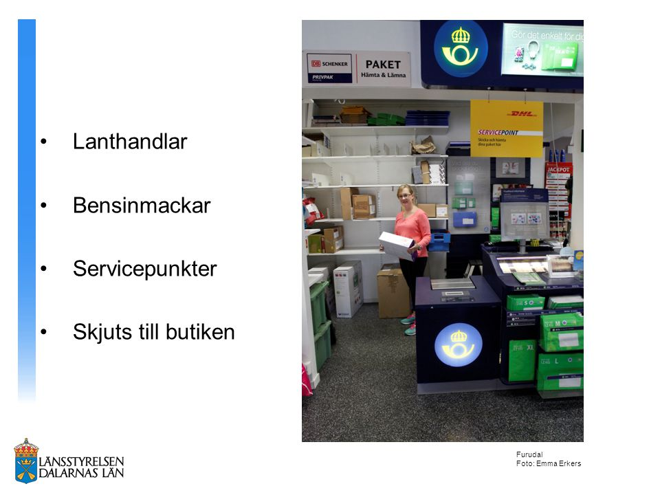 Lanthandlar Bensinmackar Servicepunkter Skjuts till butiken Furudal Foto: Emma Erkers