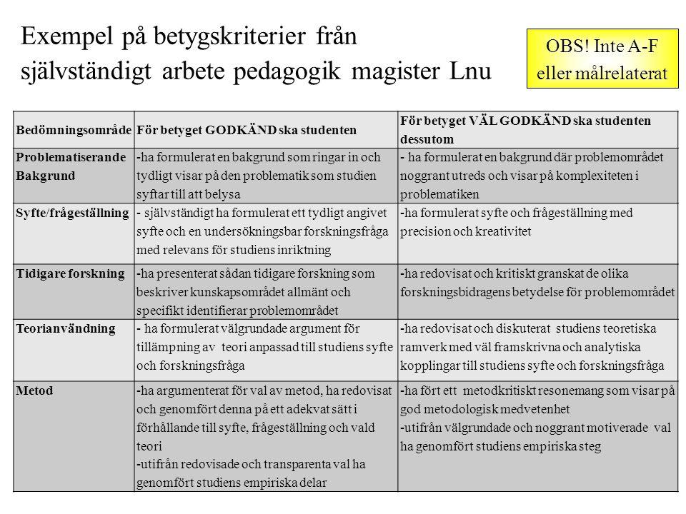 Exempel på betygskriterier från självständigt arbete pedagogik magister Lnu BedömningsområdeFör betyget GODKÄND ska studenten För betyget VÄL GODKÄND