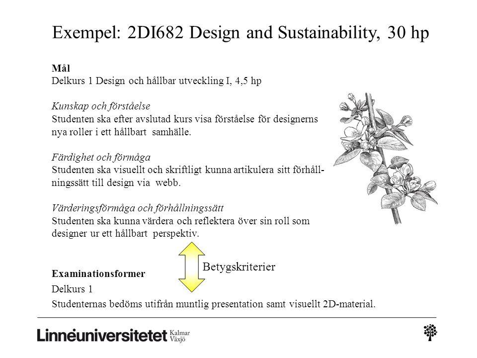 Exempel: 2DI682 Design and Sustainability, 30 hp Examinationsformer Delkurs 1 Studenternas bedöms utifrån muntlig presentation samt visuellt 2D-material.