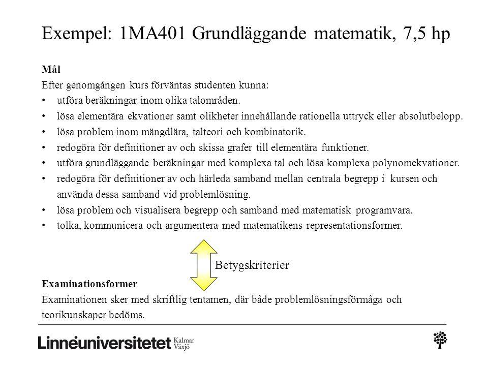 Exempel: 1MA401 Grundläggande matematik, 7,5 hp Examinationsformer Examinationen sker med skriftlig tentamen, där både problemlösningsförmåga och teorikunskaper bedöms.