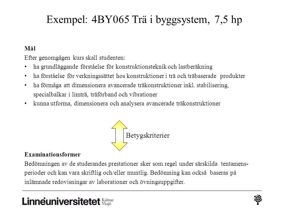 Exempel: 4BY065 Trä i byggsystem, 7,5 hp Examinationsformer Bedömningen av de studerandes prestationer sker som regel under särskilda tentamens- perioder och kan vara skriftlig och/eller muntlig.