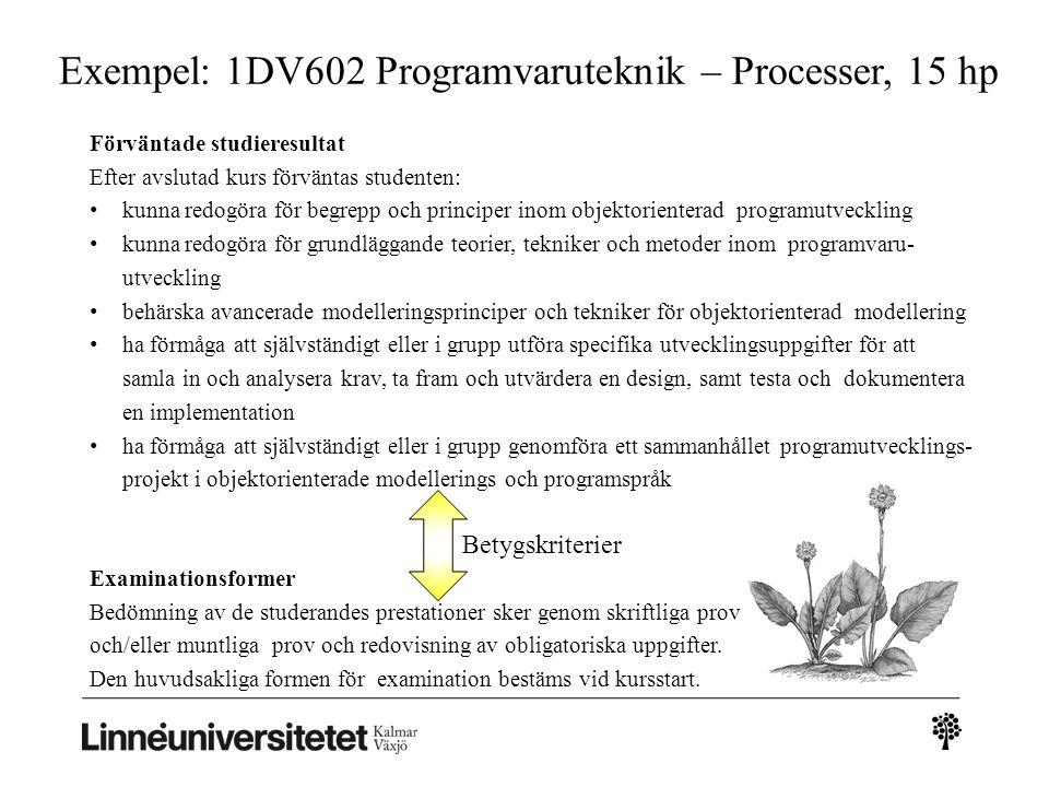 Exempel: 1DV602 Programvaruteknik – Processer, 15 hp Förväntade studieresultat Efter avslutad kurs förväntas studenten: kunna redogöra för begrepp och principer inom objektorienterad programutveckling kunna redogöra för grundläggande teorier, tekniker och metoder inom programvaru- utveckling behärska avancerade modelleringsprinciper och tekniker för objektorienterad modellering ha förmåga att självständigt eller i grupp utföra specifika utvecklingsuppgifter för att samla in och analysera krav, ta fram och utvärdera en design, samt testa och dokumentera en implementation ha förmåga att självständigt eller i grupp genomföra ett sammanhållet programutvecklings- projekt i objektorienterade modellerings och programspråk Examinationsformer Bedömning av de studerandes prestationer sker genom skriftliga prov och/eller muntliga prov och redovisning av obligatoriska uppgifter.