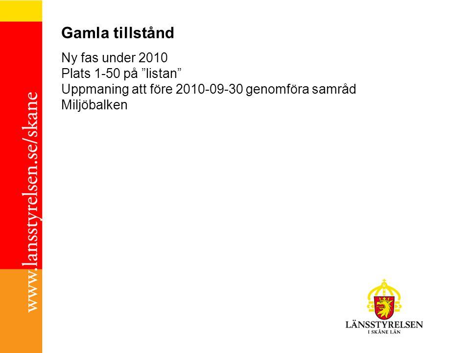 """Gamla tillstånd Ny fas under 2010 Plats 1-50 på """"listan"""" Uppmaning att före 2010-09-30 genomföra samråd Miljöbalken"""