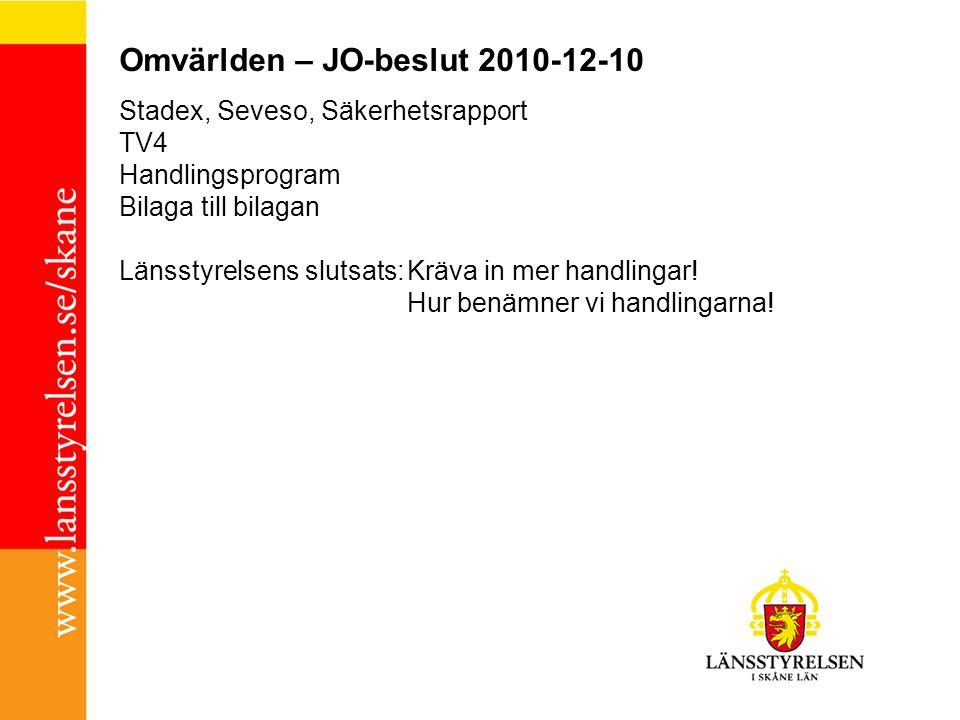 Omvärlden – JO-beslut 2010-12-10 Stadex, Seveso, Säkerhetsrapport TV4 Handlingsprogram Bilaga till bilagan Länsstyrelsens slutsats:Kräva in mer handli