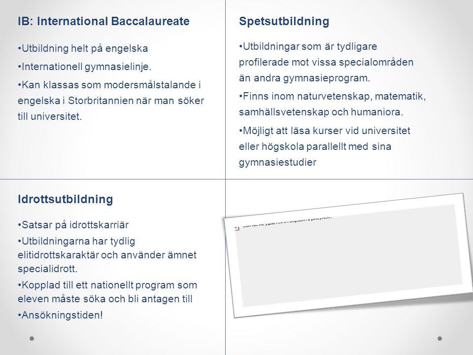 IB: International Baccalaureate Utbildning helt på engelska Internationell gymnasielinje. Kan klassas som modersmålstalande i engelska i Storbritannie