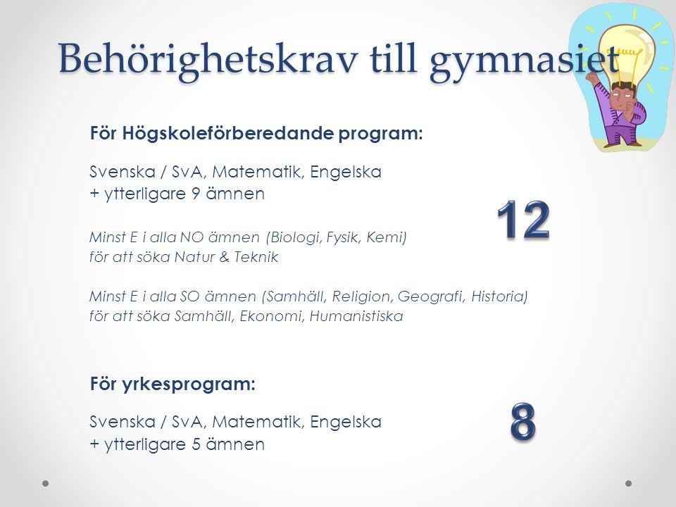 För Högskoleförberedande program: Svenska / SvA, Matematik, Engelska + ytterligare 9 ämnen Minst E i alla NO ämnen (Biologi, Fysik, Kemi) för att söka