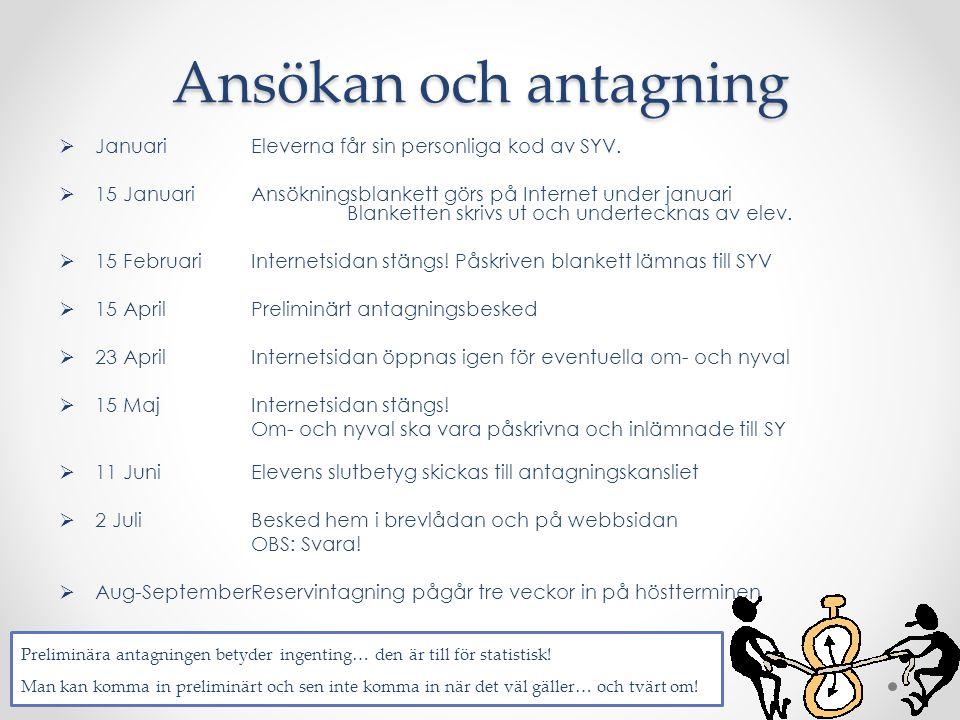  JanuariEleverna får sin personliga kod av SYV.  15 Januari Ansökningsblankett görs på Internet under januari Blanketten skrivs ut och undertecknas