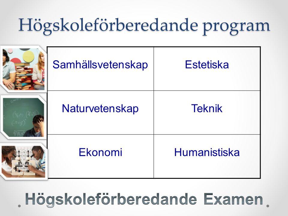 SamhällsvetenskapEstetiska NaturvetenskapTeknik EkonomiHumanistiska Högskoleförberedande program