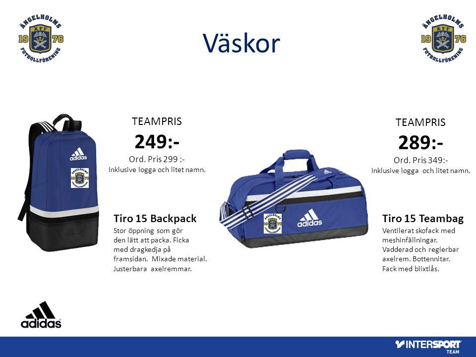 Väskor TEAMPRIS 289:- Ord. Pris 349:- Inklusive logga och litet namn. Tiro 15 Teambag Ventilerat skofack med meshinfällningar. Vadderad och reglerbar