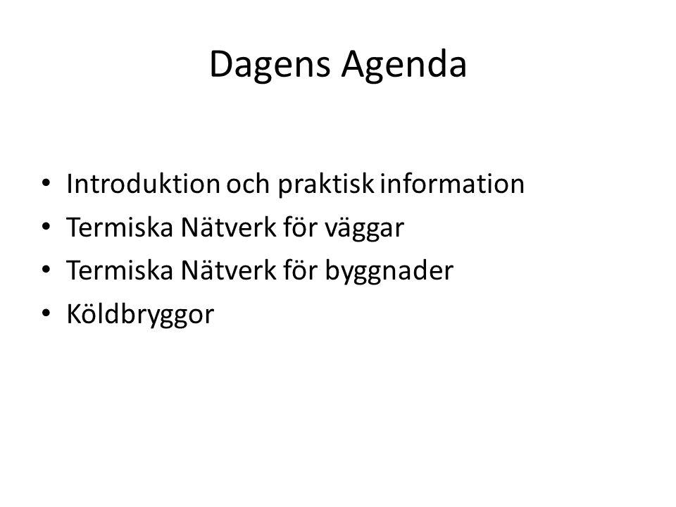 Dagens Agenda Introduktion och praktisk information Termiska Nätverk för väggar Termiska Nätverk för byggnader Köldbryggor