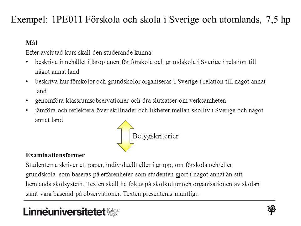 Exempel: 1PE011 Förskola och skola i Sverige och utomlands, 7,5 hp Examinationsformer Studenterna skriver ett paper, individuellt eller i grupp, om fö