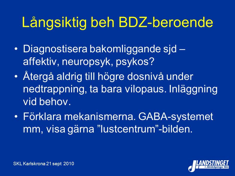 SKL Karlskrona 21 sept 2010 Långsiktig beh BDZ-beroende Diagnostisera bakomliggande sjd – affektiv, neuropsyk, psykos? Återgå aldrig till högre dosniv