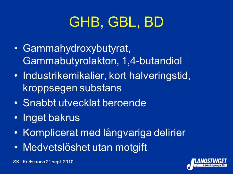 SKL Karlskrona 21 sept 2010 GHB, GBL, BD Gammahydroxybutyrat, Gammabutyrolakton, 1,4-butandiol Industrikemikalier, kort halveringstid, kroppsegen subs