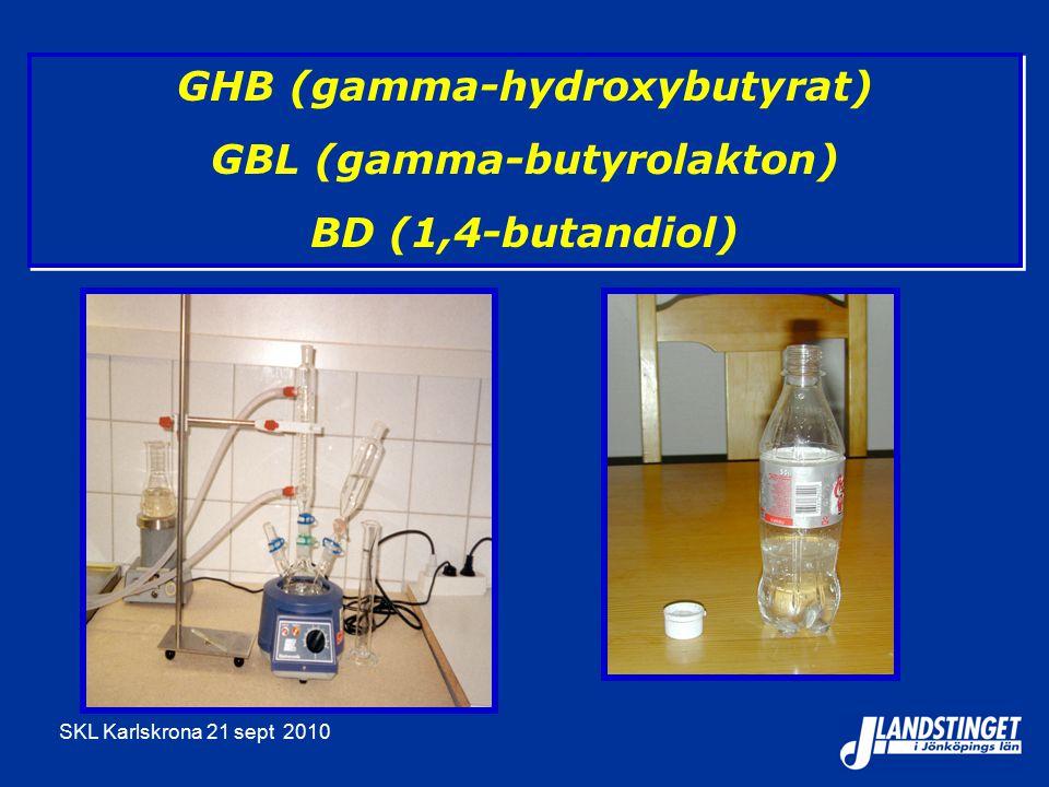 SKL Karlskrona 21 sept 2010 GHB (gamma-hydroxybutyrat) GBL (gamma-butyrolakton) BD (1,4-butandiol) GHB (gamma-hydroxybutyrat) GBL (gamma-butyrolakton)