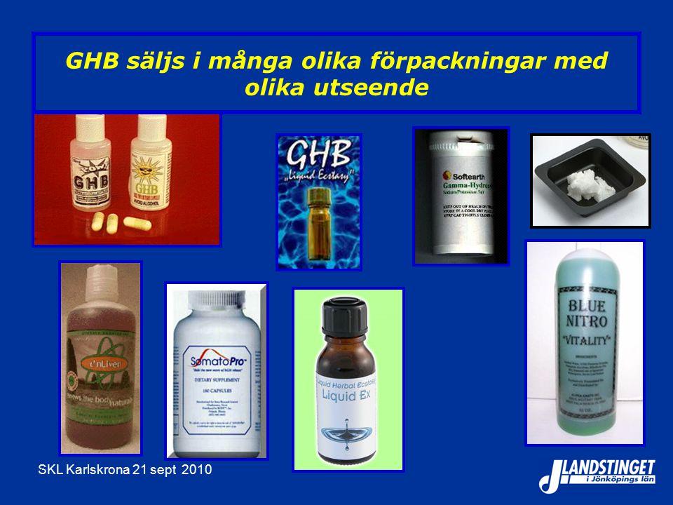SKL Karlskrona 21 sept 2010 GHB säljs i många olika förpackningar med olika utseende