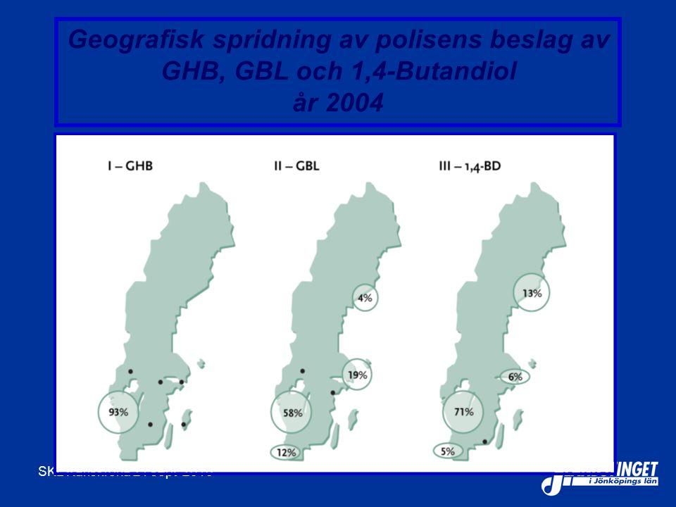 SKL Karlskrona 21 sept 2010 Geografisk spridning av polisens beslag av GHB, GBL och 1,4-Butandiol år 2004