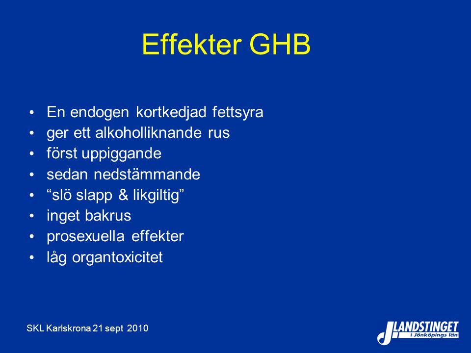 """SKL Karlskrona 21 sept 2010 Effekter GHB En endogen kortkedjad fettsyra ger ett alkoholliknande rus först uppiggande sedan nedstämmande """"slö slapp & l"""
