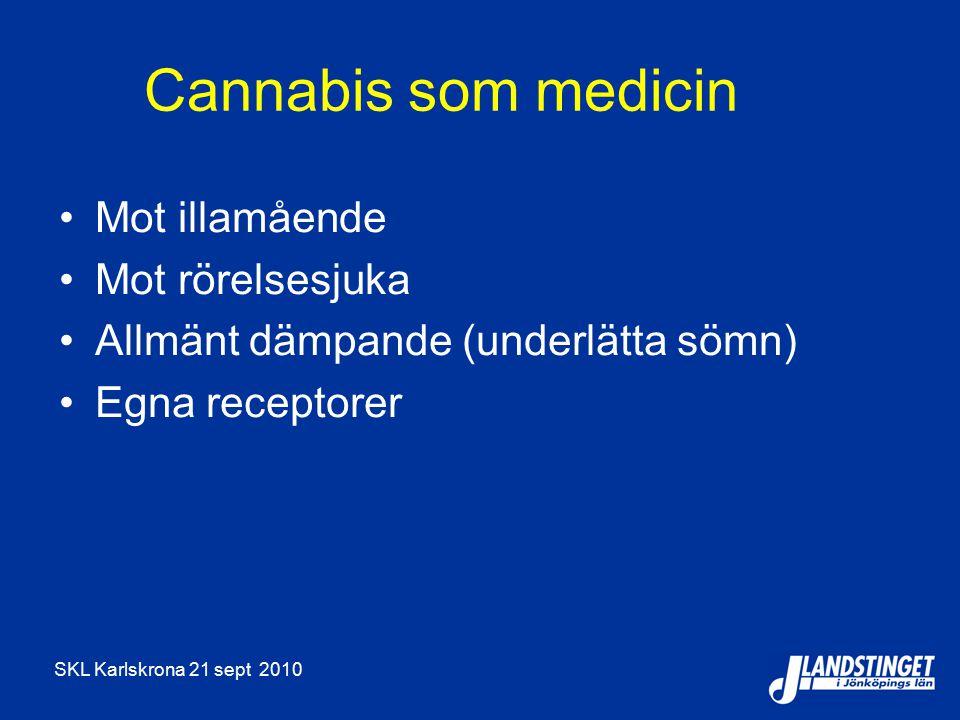 SKL Karlskrona 21 sept 2010 Cannabis som medicin Mot illamående Mot rörelsesjuka Allmänt dämpande (underlätta sömn) Egna receptorer