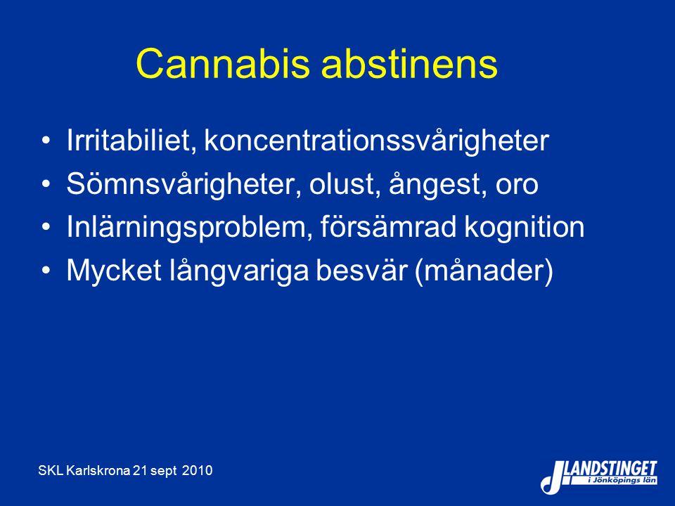 SKL Karlskrona 21 sept 2010 Cannabis abstinens Irritabiliet, koncentrationssvårigheter Sömnsvårigheter, olust, ångest, oro Inlärningsproblem, försämrad kognition Mycket långvariga besvär (månader)
