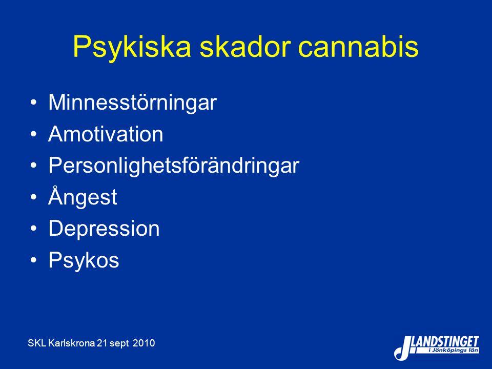 SKL Karlskrona 21 sept 2010 Psykiska skador cannabis Minnesstörningar Amotivation Personlighetsförändringar Ångest Depression Psykos