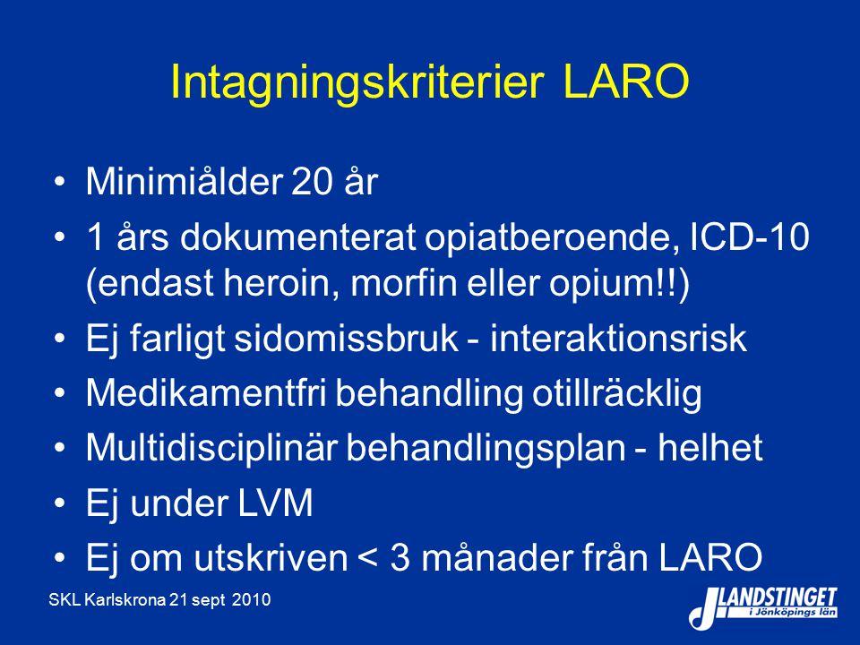 SKL Karlskrona 21 sept 2010 Intagningskriterier LARO Minimiålder 20 år 1 års dokumenterat opiatberoende, ICD-10 (endast heroin, morfin eller opium!!) Ej farligt sidomissbruk - interaktionsrisk Medikamentfri behandling otillräcklig Multidisciplinär behandlingsplan - helhet Ej under LVM Ej om utskriven < 3 månader från LARO