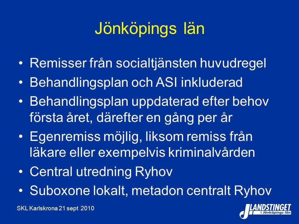 SKL Karlskrona 21 sept 2010 Jönköpings län Remisser från socialtjänsten huvudregel Behandlingsplan och ASI inkluderad Behandlingsplan uppdaterad efter