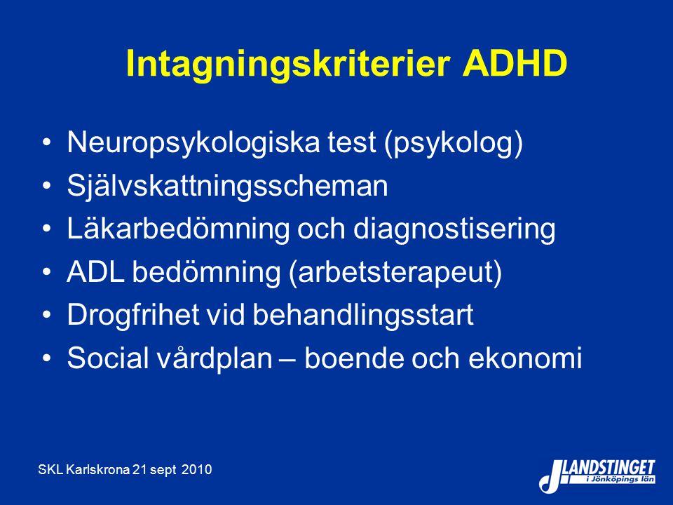 SKL Karlskrona 21 sept 2010 Intagningskriterier ADHD Neuropsykologiska test (psykolog) Självskattningsscheman Läkarbedömning och diagnostisering ADL bedömning (arbetsterapeut) Drogfrihet vid behandlingsstart Social vårdplan – boende och ekonomi